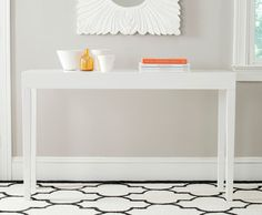 The classic Parsons table gets a chic update with slightly tapered legs in the crisp white lacquer Kayson console. Use this elegant piece for a dramatic statement in an entry hall or make the Kayson console the focal point of a living room wall. Sofa End Tables, Entryway Tables, Bar Tables, Entryway Ideas, Coffee Tables, My Living Room, Living Room Furniture, Kitchen Furniture, Entryway Furniture