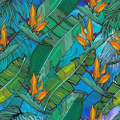 Tropical pattern. Banana palm tree leaves. Watercolor textured.