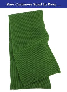 """Pure Cashmere Scarf in Deep Green for Man. The wonderfully soft, lightweight and warm 4-ply pure cashmere pashmina wool from Nepal is what makes this Deep Green man's scarf so special. Plus, we have them knit in the popular size of 7"""" x 70"""" so they will always be in style. The knit features a smooth side and a textured side. This allows a different presentation depending on which side is facing outward as it hangs. Truly a wonderful men's cashmere wool fashion accessory! A great gift for…"""