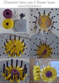 Tutorial Orecchini fiore in cotone con il Flower loom