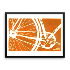 bicycle bike framed art print home decor nursery wall art childrens art linocut linoprint orange housewarming gift Framed poster Linoprint, Bike Frame, Nursery Wall Art, Order Prints, Framed Art Prints, Mixed Media, Bicycle, Drawings, Artwork