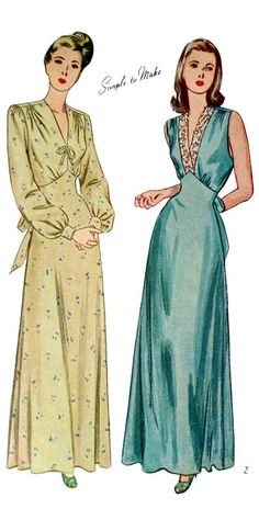 Vintage 1940's Women's Nightgown Sewing Pattern Simplicity 2269; Gathers at the forward shoulder seam release easy fullness in the bodice front. The softly flared skirt joins to the bodice front in a point above the natural waistline. Tie ends form a bow at the center back. In Style I, the long, full sleeves are gathering at the upper and lower edges and join to a buttoned wristband. A bow trims the V neck. In Style II, lace is used to trim the sleeveless bodice. Bust Size 36