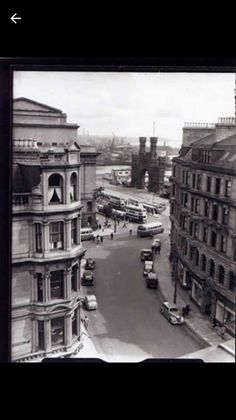 """Photo of Whitehall Crescent of the with the Shore Terrace bus terminus and the Royal Arch in the distance :"" Dundee Waterfront, Great Britain, Old Photos, Terrace, Scotland, Arch, Street View, History, City"