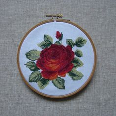 Red Rose Flower Embroidery Counted Cross Stitch by NadiyaHope