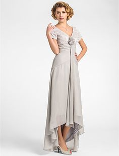 A-line V-neck Asymmetrical Lace And Chiffon Mother of the Bride Dress - USD $ 79.99
