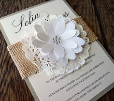 Wedding Invitation Burlap Lace Doily Sleeve Shabby by BellaPapel, $7.50
