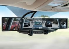 No-Blind-Spot #RearviewMirror 4 #Vehicles: This mirror features a 180° panoramic view that allows the driver to continuously monitor adjacent vehicles when merging or changing lanes without turning his or her head. $59.95 @ www.hammacher.com