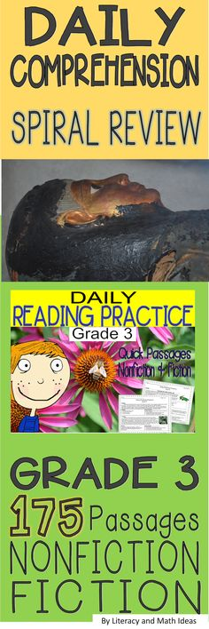 Grade 3 Reading Comprehension Spiral Review~ 175 quick, daily passages-Nonfiction, fiction, history, fables, realistic fiction, and more~Review inferences, main idea, themes, vocabulary, and more in just a few minutes each day.$