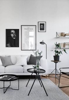 Minimalist Monochrome Living Room Decor - Black and Silver Living Room Ideas