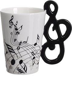 VENKON - Musik Keramiktasse mit Notenschlüssel als Henkel und Noten Verzierung in hochwertiger Geschenkbox - 200ml Venkon
