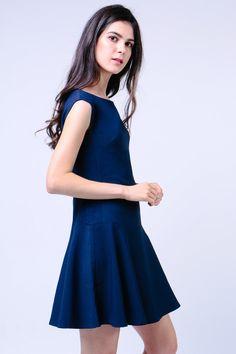 Drop Waist Dress (Navy) Image 3