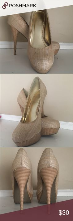 Bamboo style platform heels Bamboo fabric, platform heel. Barely worn. Small mark on top of right shoe. Shoes Platforms