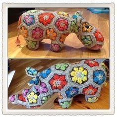Makerist - Nilpferd aus afrikanische Blumen - Häkelprojekte - 3