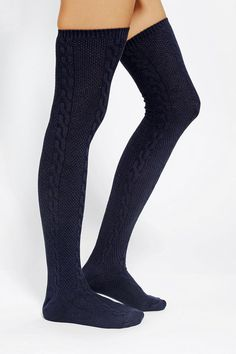 Textured Cable Thigh-High Sock  #urbanoutfitters