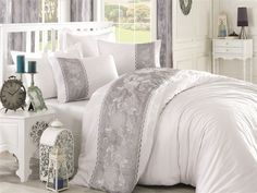 White - Grey Color Elegant Embroidery Decorated Satin Bedding Set Including: Duvet Cover, Bed Sheet, and Pillowcases Satin Bedding, Luxury Bedding, Royal Pattern, Hotel Collection Bedding, King Bedding Sets, Double Beds, Duvet Cover Sets, Bed Sheets, Pillow Cases