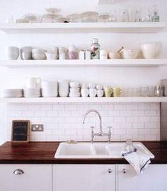 Floating shelves. Kitchen.