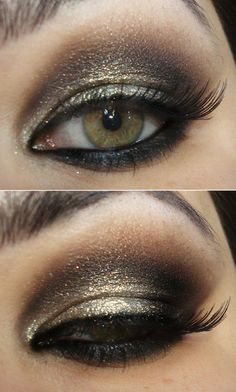 Brown and gold party makeup  but with silver for prom