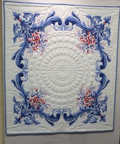 This piece will be on display at the International Quilt Festival in Houston, November, 2016 in the special Exhibit titled: For the Love of Linens. My quilted vintage tablecloth finished this weekend.