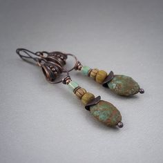 tribal earrings  raw glass earrings  earthy beaded by entre2et7