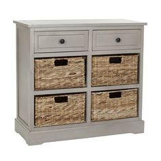 """Harry Storage Unit   6 drawer storage table A welcome addition to any room 4 wicker basket drawers give ample storage with storage space Basket dimensions: 4.7""""H x 13""""W x 10.4""""Back-to-Front"""
