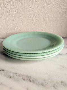4 Fire King Jane Ray Jadeite Large Dinner Plates Vintage