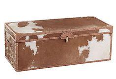 Cowhide storage trunk