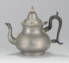 RARE BOSTON PEWTER TEAPOT First Half of the 19th C