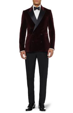 Acne Grant Slim-Fit Velvet Burgundy Tuxedo Jacket | UpscaleHype