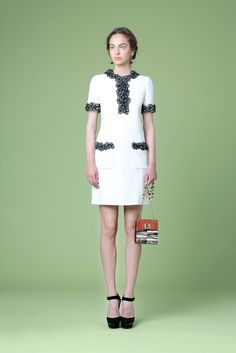 Andrew Gn | Resort 2015 | 27 Monochrome floral short sleeve mini dress