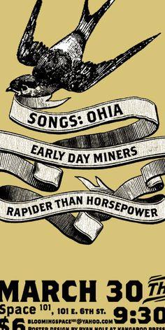 Songs: Ohia conert poster by Ryan Nole