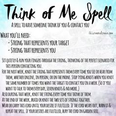 Think of Me Spell by This Crooked Crown Order your love spells online from Professional Love Spell Caster. Strong Love Spells that work. Hoodoo Spells, Magick Spells, Wiccan Spells Love, Candle Spells, Wicca Witchcraft, Curse Spells, Charmed Spells, Gypsy Spells, Healing Spells