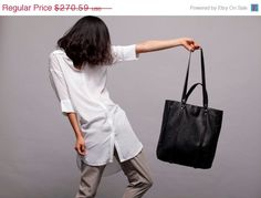 Black  leather tote bag Grace bag by LadyBirdesign on Etsy, $230.00