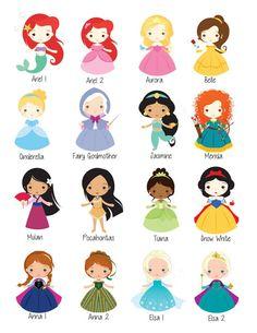 Little Disney Princess Wall Art Digital Prints Personajes disney - Little Disney Princess, Disney Princess Cartoons, Disney Princess Drawings, Disney Princess Pictures, Disney Princess Cookies, Disney Princess Colors, All Disney Princesses, Cute Princess, Princess Theme