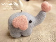 Serious cuteness!! cute mini little needle wool felted animals elephant by CrazyCrush, $19.99