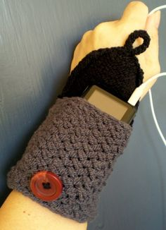 Pick your Two-Tone Hand Knit Cuff Wallet / Case / Cozy (for MP3, iPods, Cell Phones, etc.)