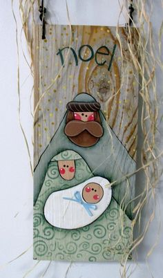 Hand Painted Nativity on Barn Wood, Folk Art Nativity, Rustic Nativity, Reclaimed Wood, Noel Sign, Christmas Sign, Mary, Joseph, and Baby This Noel Christmas sign is based on a Nancy Halverson design. It has been adjusted and adapted to fit on to a piece of old reclaimed barn wood.