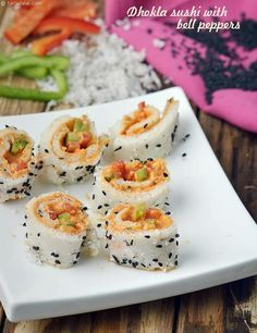 Dhokla Sushi with Bell Peppers recipe by Tarla Dalal Veg Appetizers, Indian Appetizers, Appetisers, Appetizers For Party, Appetizer Recipes, Indian Snacks, Indian Desserts, Appetizer Ideas, Sushi Recipes