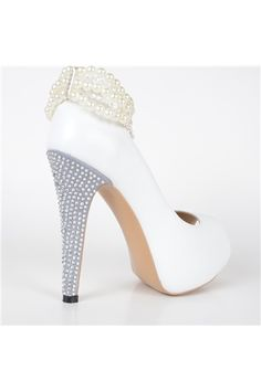 shoespie.com Offers High Quality Hot Selling White Pearl Ankle Strap High Heel Shoes,Priced At Only US$74.79