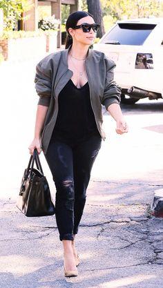 Kim Kardashian often pairs all black ensembles with a neutral nude pump // #CelebrityStyle