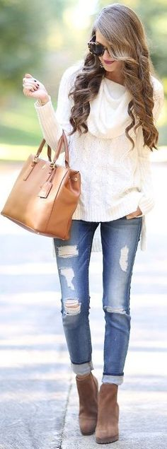 Cable Knit & Cozy + Ripped Jeans Source