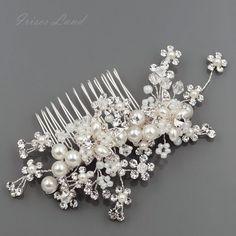 Bridal Hair Comb Pearl Crystal Headpiece Hair Clip Wedding Accessories 00407 S #Handmade #HairComb