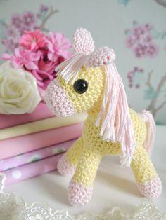 Amigurumi Crochet Pony. Pink and yellow cotton yarn. Perfect new baby girl or Christening gift! By Kinderkraft.