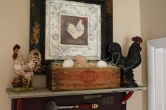 French Country Kitchen Rooster Motif Rustic Rooster And