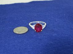 Sterling Silver Created Ruby and White Gemstone Ring Size 9