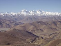 View from the Pang La Pass on the road to Kharta Valley and Rongbuk, Tibet