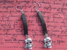 Skulls and Leather Earrings Skull Earrings Leather by SpoiledRockN, $10.00