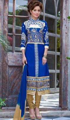 Specialize your trendy event with this churidar kameez, cotton fabric in blue color embroidered. The lovely lace, patch and resham work a vital feature of this attire.  #jewelneckdresses #bluestraightdress #embroideredsuits