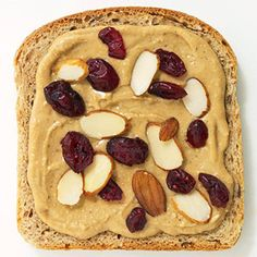 Fun sandwich ideas - peanut/almond butter with sliced almonds & craisins!
