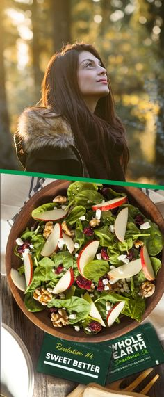 Apple cranberry salad with apple vinaigrette Dinner Entrees, Dinner Recipes, Apple Recipes, Low Carb Recipes, Apple Cranberry Salad, Calories Apple, Vegetarian Stir Fry, Beef Flank Steak, Inexpensive Meals