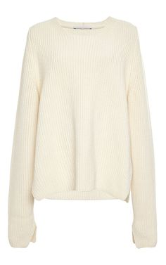 Ivory Wool Cashmere Crew Neck Slit Sweater by Rosetta Getty Now Available on Moda Operandi